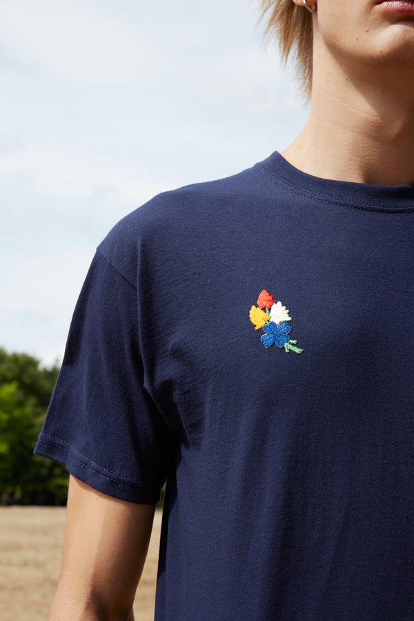 Embroidered Four-Leaf Clover Patch Navy T-Shirt
