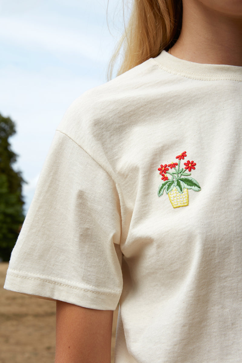 Embroidered Flower Yellow Pot Patch Nude T-Shirt