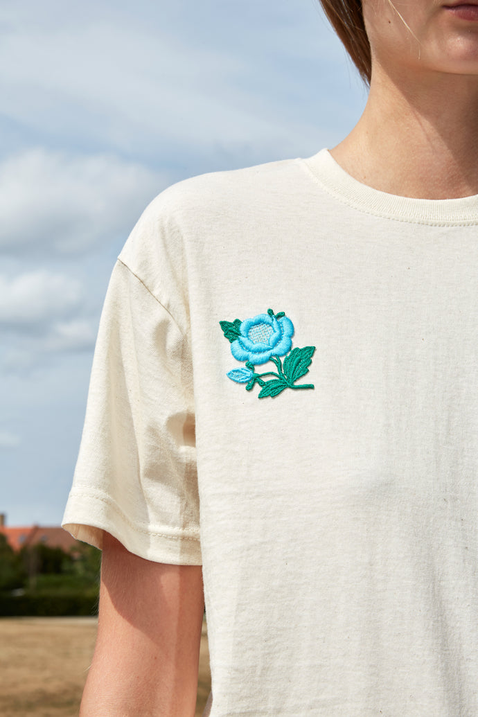 Embroidered Turquoise Flower Patch Nude T-Shirt