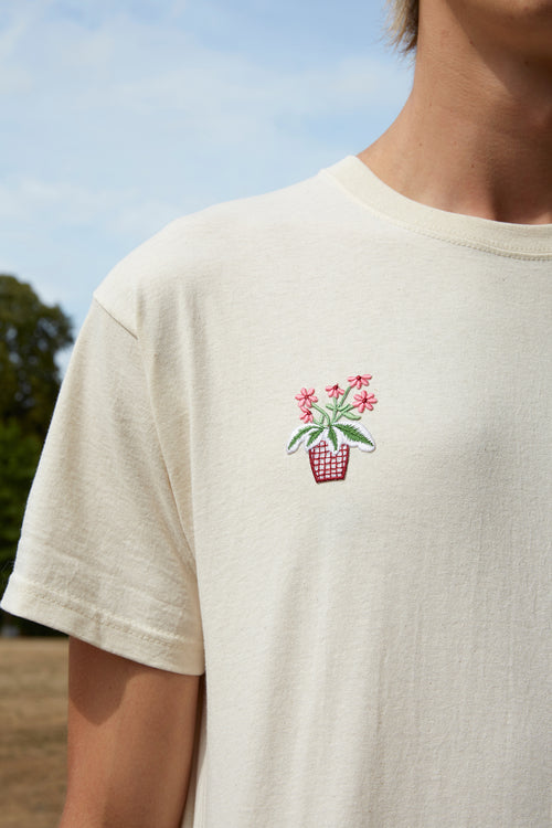 Embroidered Flower Red Pot Patch Nude T-Shirt