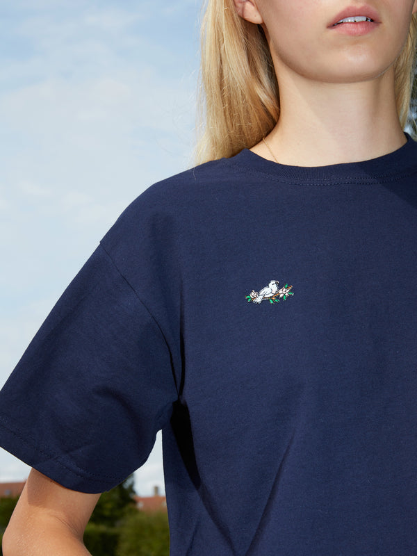 Embroidered Flower Bird Patch Navy T-Shirt