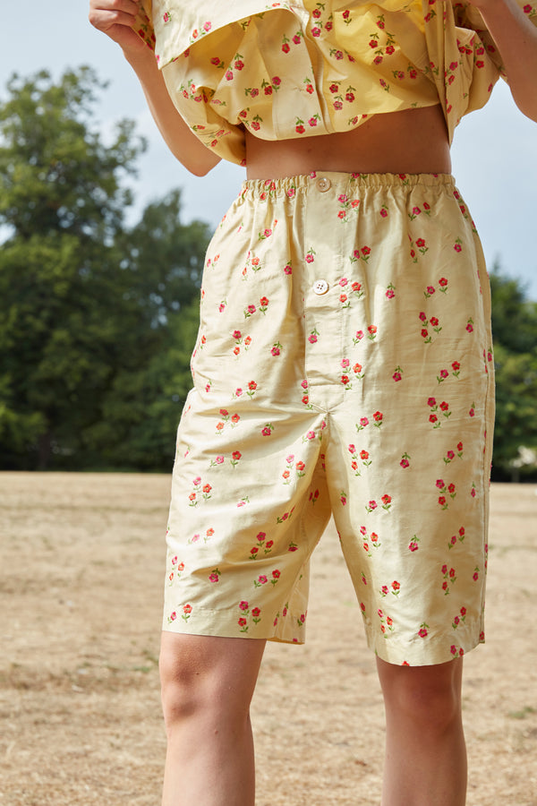 Unisex Embroidered Flower Silk Pyjamas Shorts