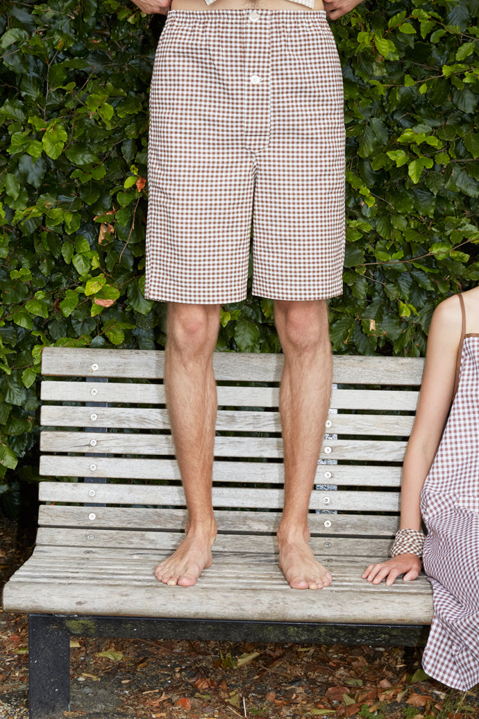 Checked Unisex Brown Pyjamas Shorts