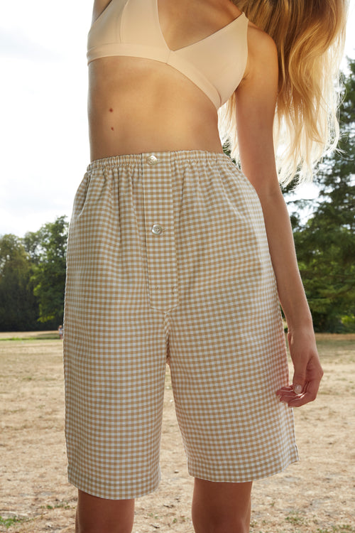 Checked Unisex Beige Pyjamas Shorts