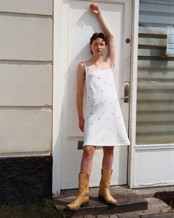 White Cotton Pearl Strap Dress