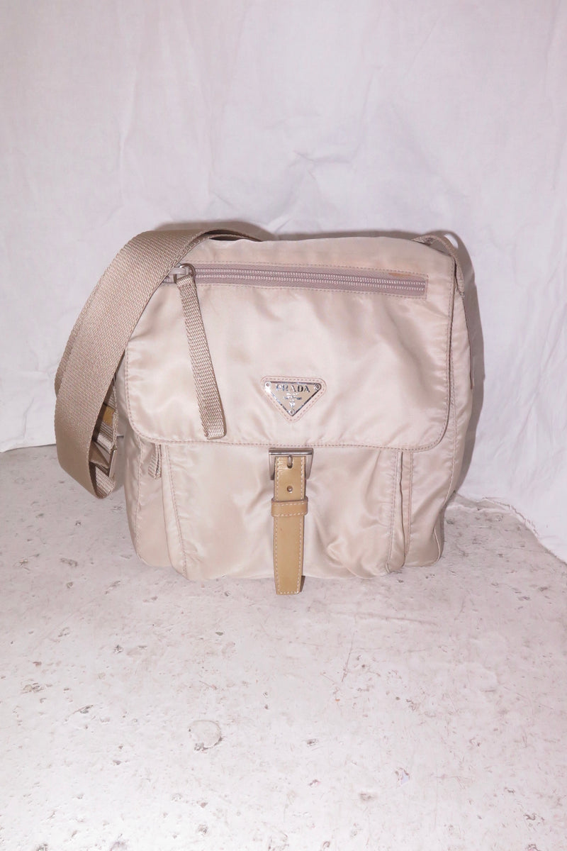 Prada Nylon Beige Crossbody Bag
