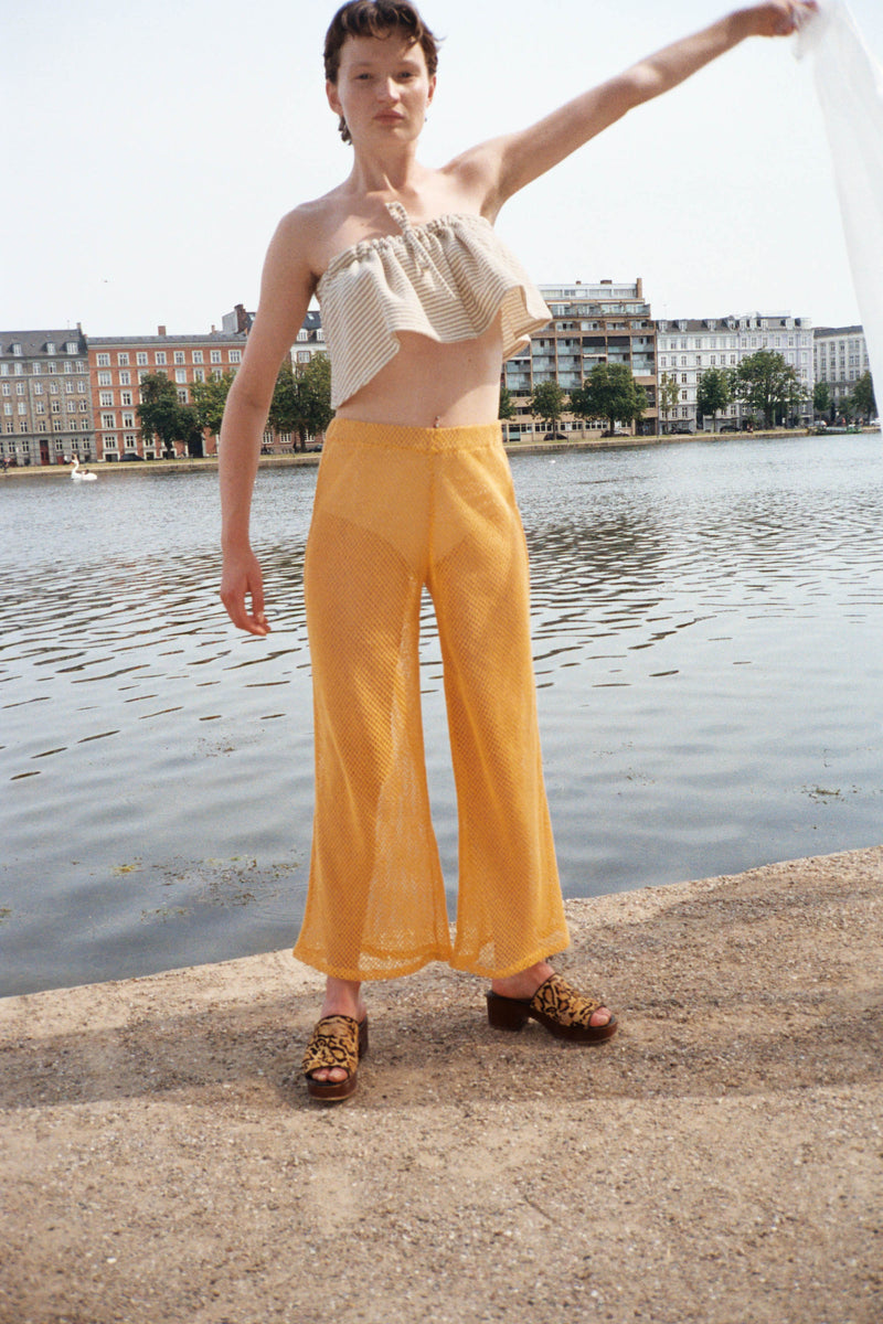 Orange Net Wide Leg Pants