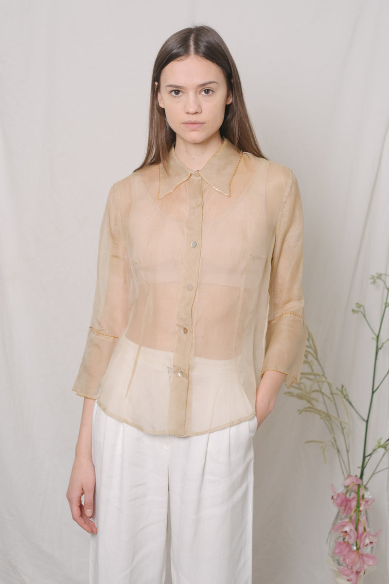 Vintage Golden See-Through Silk Shirt - Studio Travel