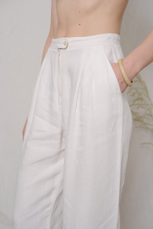 Marella White Linen Pants - Studio Travel