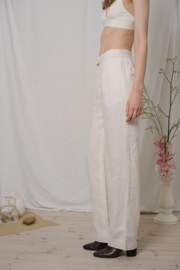 J.C. De Castelbajac Off-White Linen Pants - Studio Travel