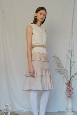 Aspesi Ruffle Champagne Skirt - Studio Travel