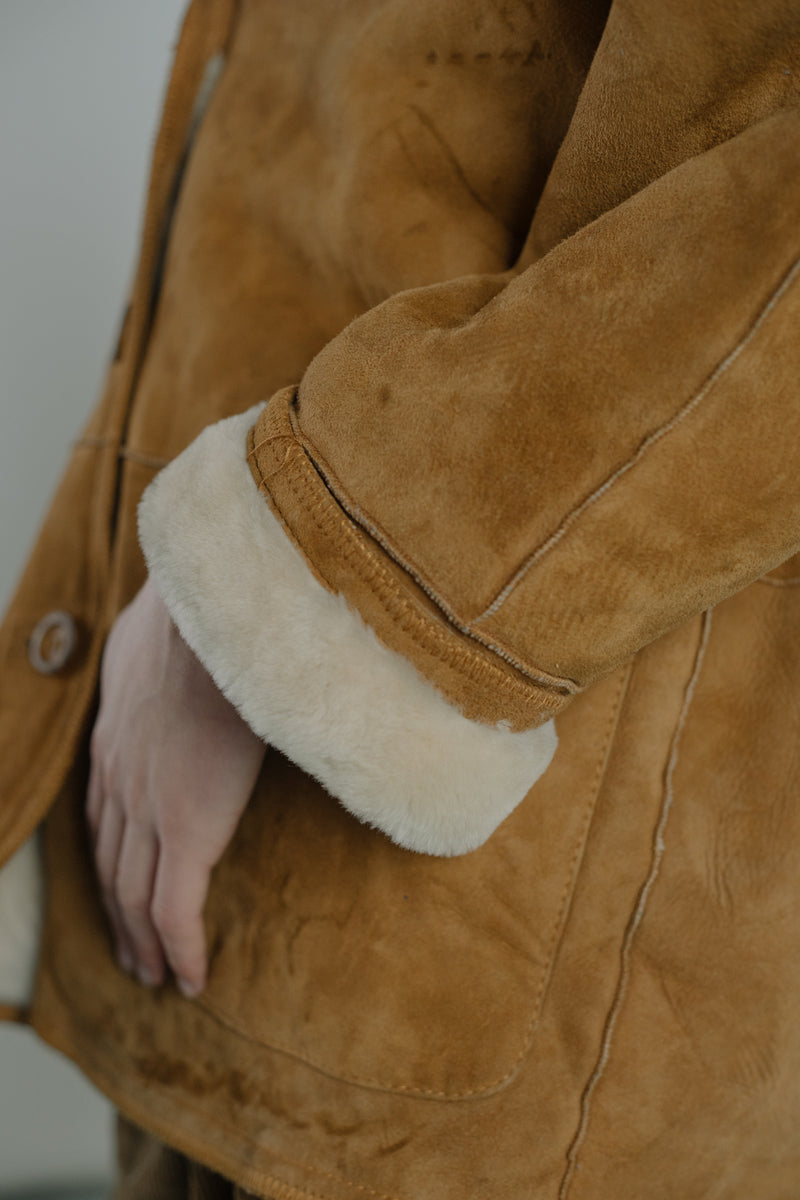 Sartorial Suede Lambskin Sherling Coat - Studio Travel
