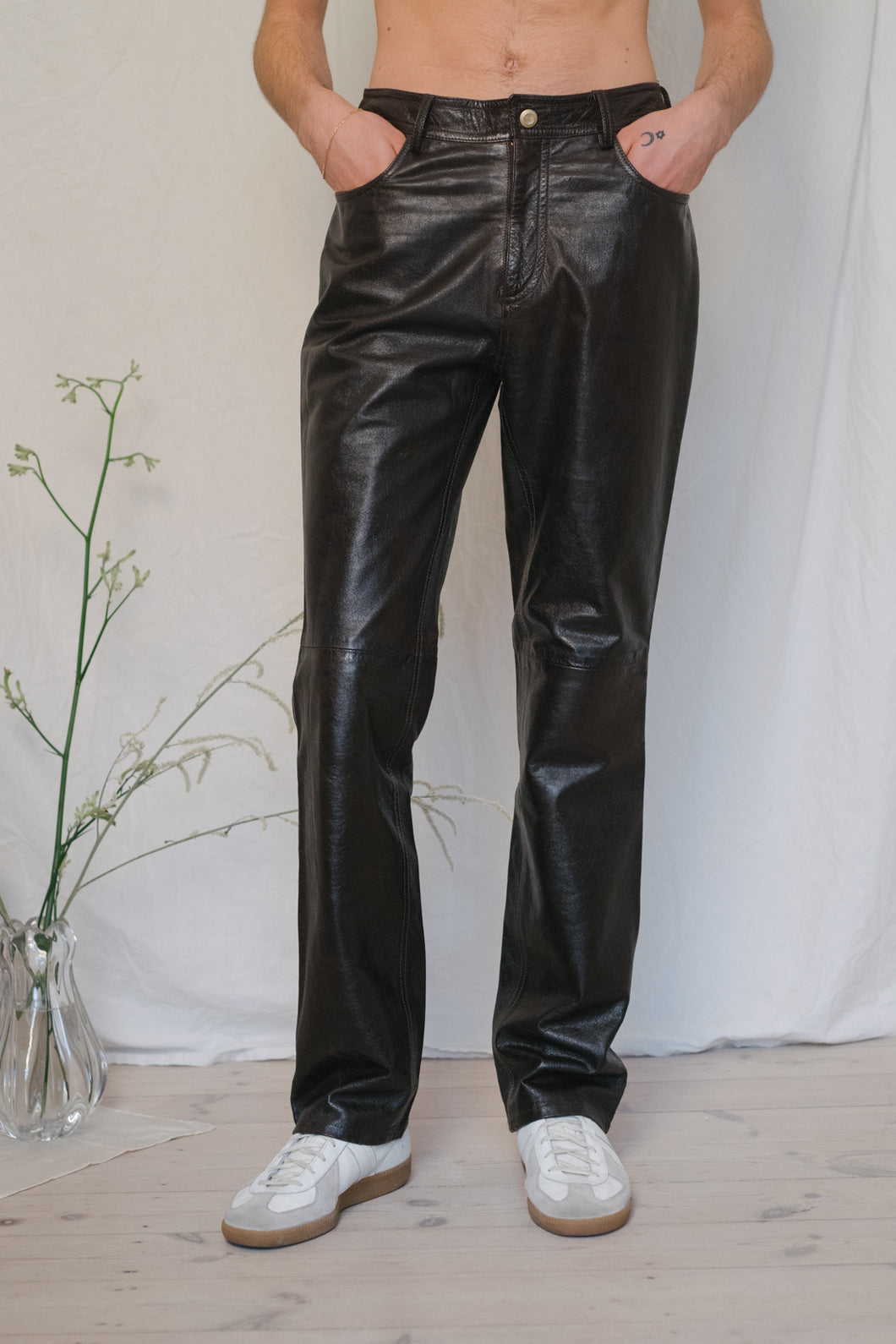 Trussardi Dark Brown Leather Pants - Studio Travel