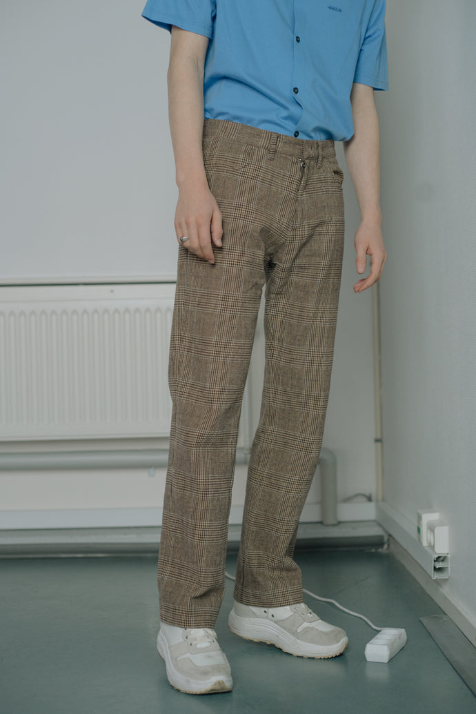 Stefanel Checked Cotton Pants - Studio Travel