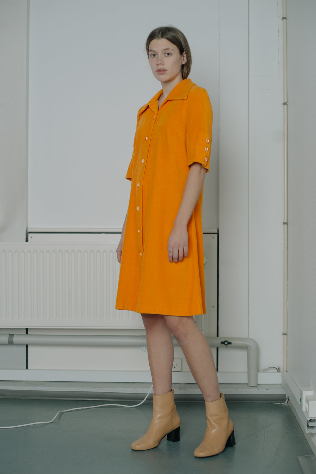 Vintage beachwear shirt dress by Louis Féraud in bright orange color