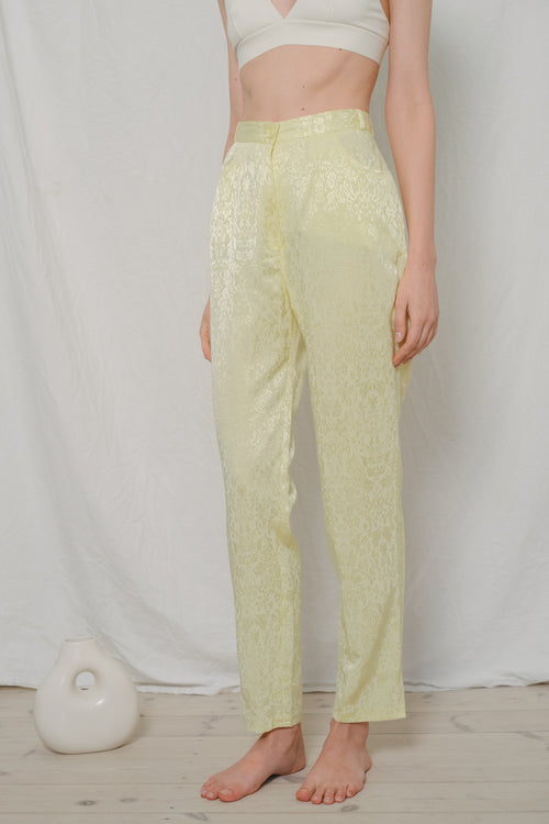 Vintage High Waisted Floral Yellow Pants - Studio Travel