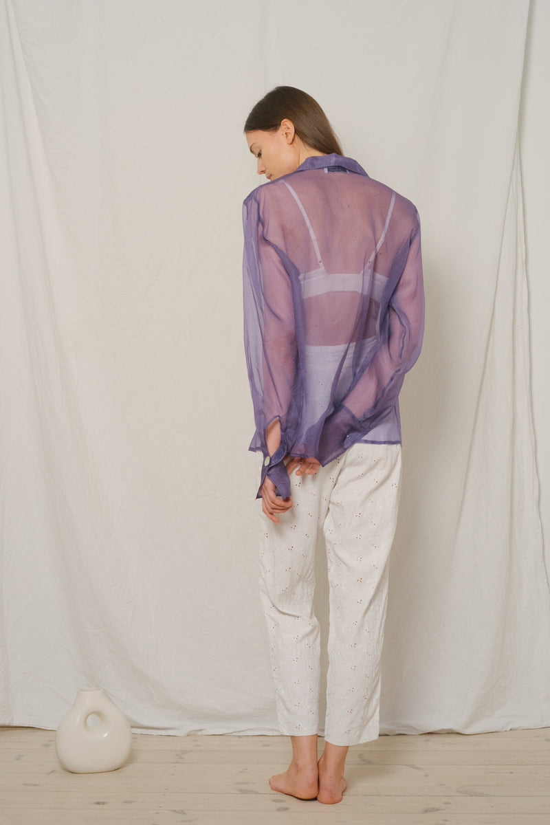 Vintage Purple See-Through Silk Shirt - Studio Travel
