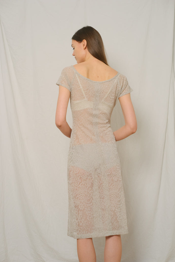 Vintage Handcrafted See-Through Midi Dress - Studio Travel