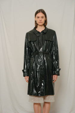 Vintage Black Patent Trench Coat - Studio Travel