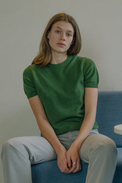 Cashmere Green Short-Sleeve Sweater - Studio Travel