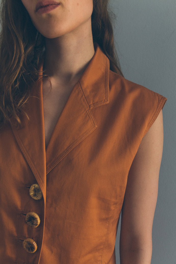 Vintage Sleeveless Shirt With Bamboo Buttons - Studio Travel