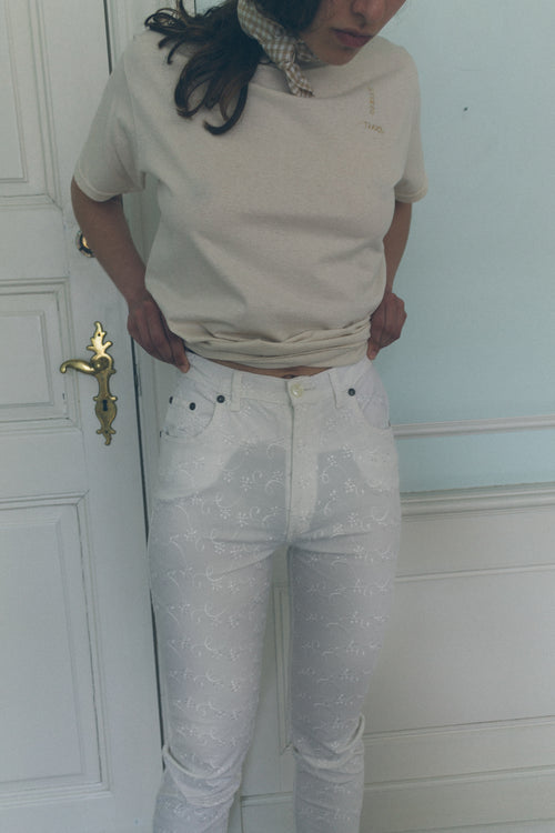Byblos White Embroidered Pants - Studio Travel