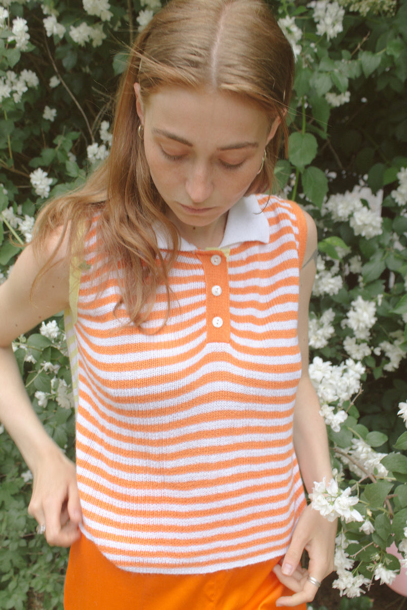 Orange Striped Knitted Top