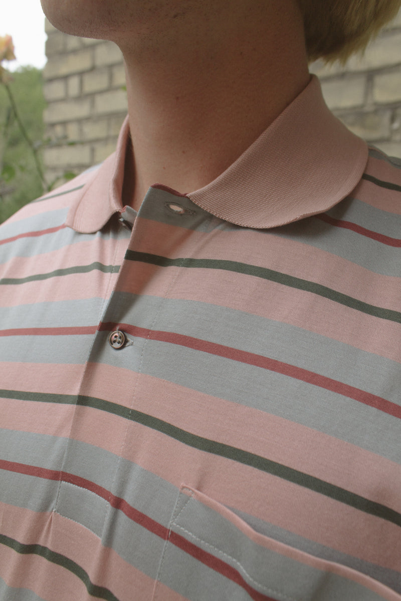Pink Striped Knitted Cotton T-Shirt