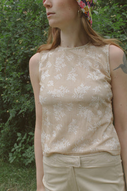 Onyx Beige Two-Layer Flower Top