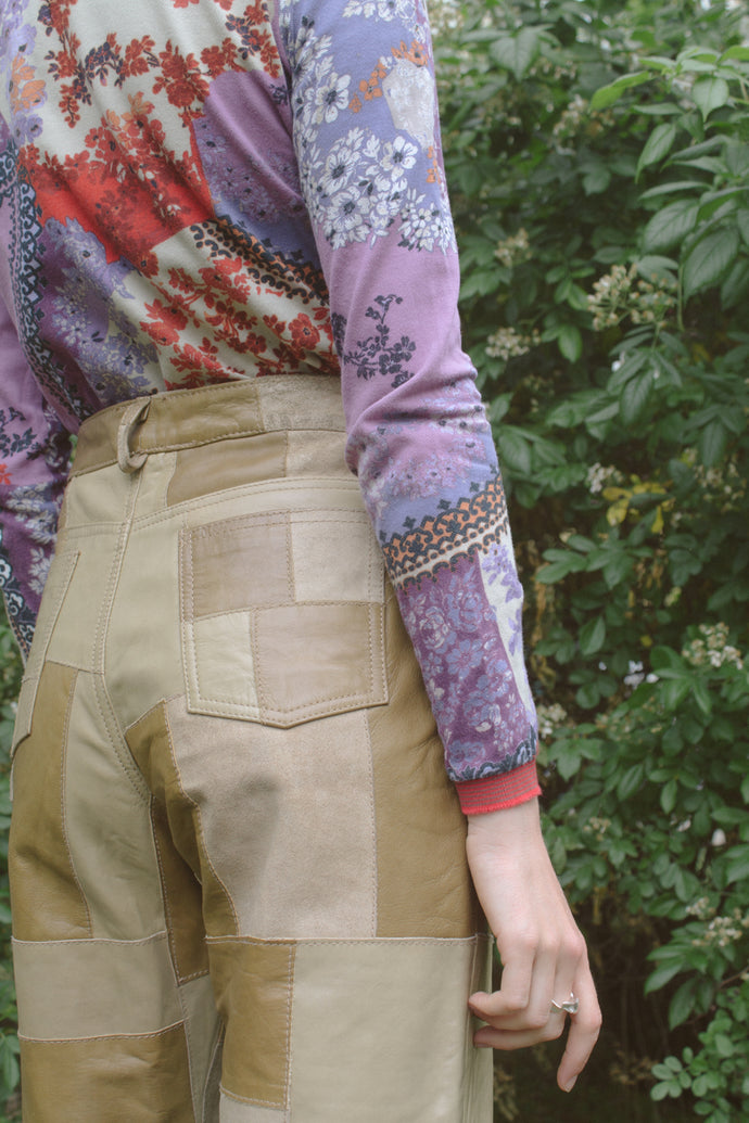 Patchwork Mix Brown Leather Pants