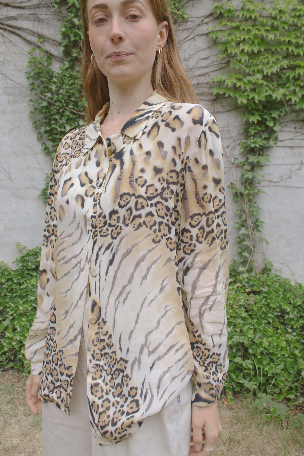 Per Te By Krizia Sheer Animal Print Shirt