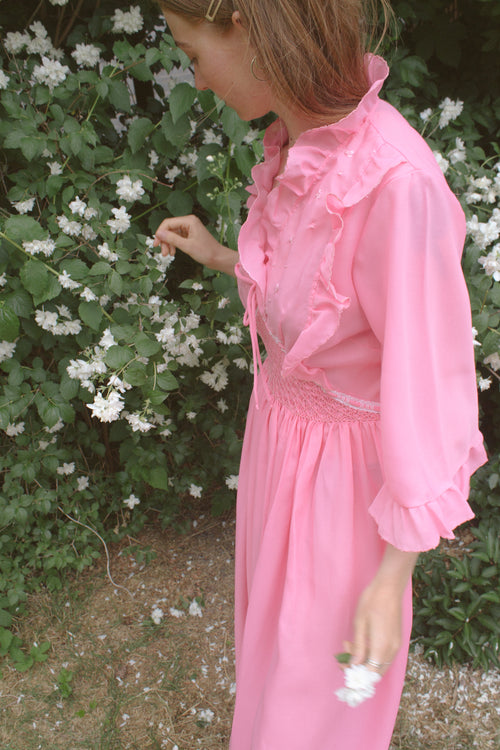 Pink Maxi Ruffle Dress