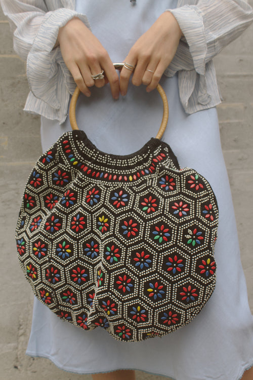 Embellished Corduroy Circle Bag
