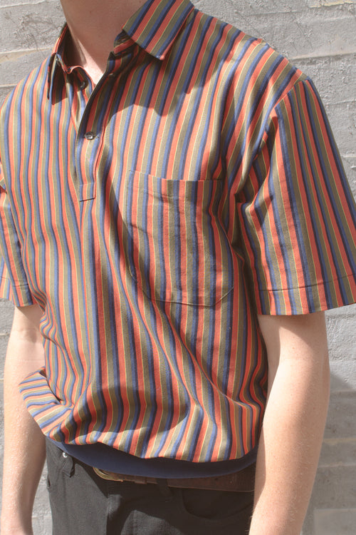 Striped Knitted Cotton Short Sleeve Shirt