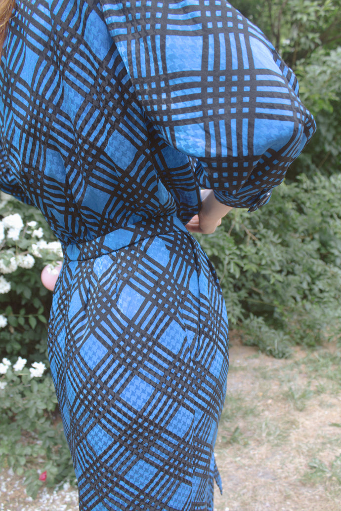 Crafted Check Blue Silk Dress