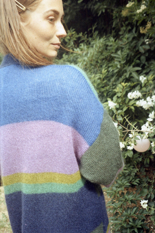 Knitted Multicolour Striped Cardigan