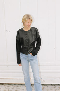 Oaks by Ferre black leather fronted jacket