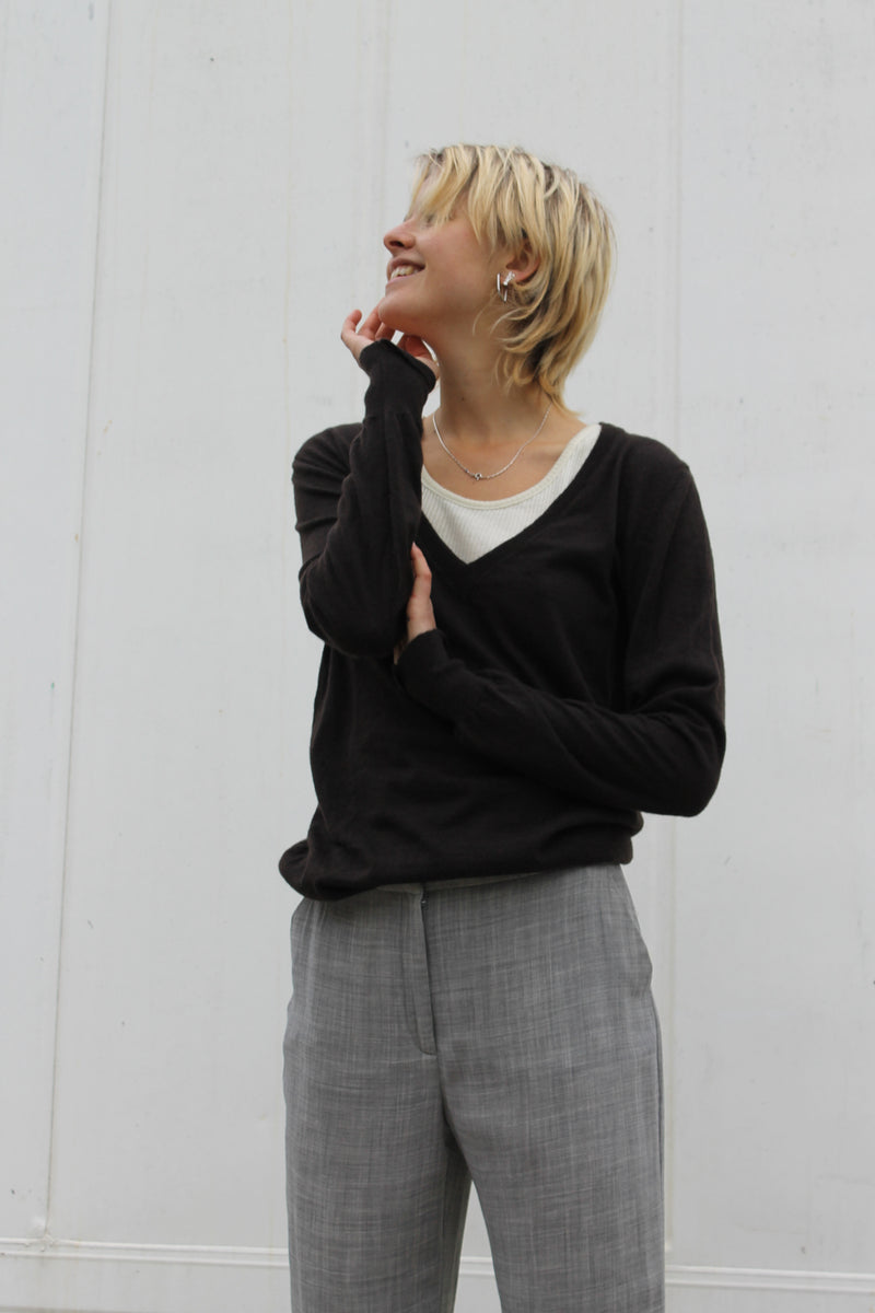 Dark brown v neck cashmere jumper
