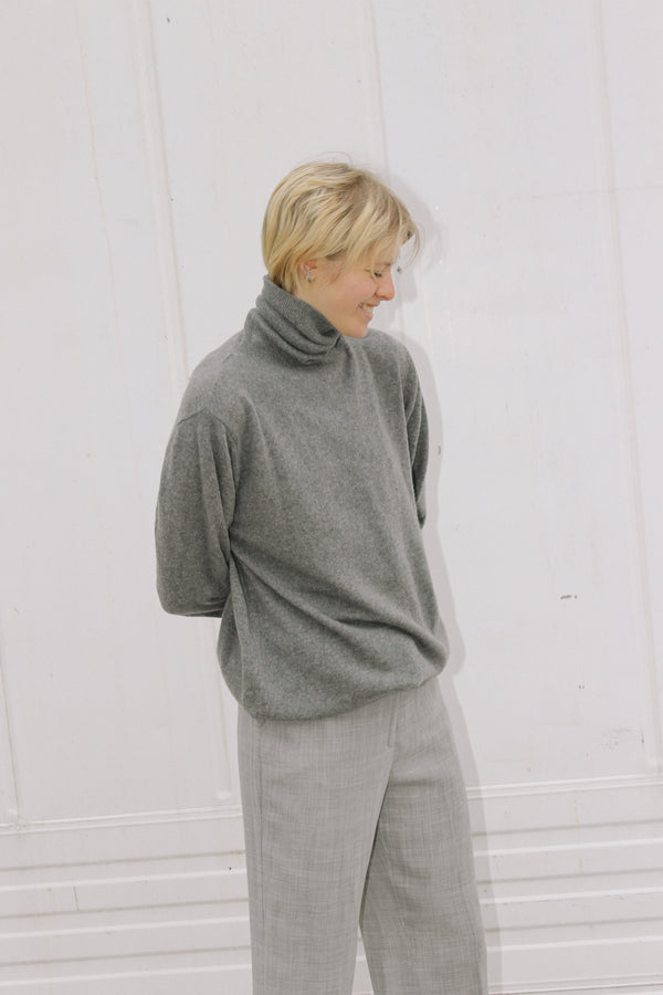 Super soft grey marl cashmere roll neck jumper