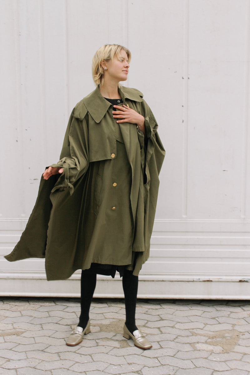 Cheap and Chic by Moschino dark green poncho style coat