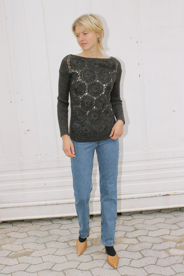 Prada jumper with crochet detail front panel