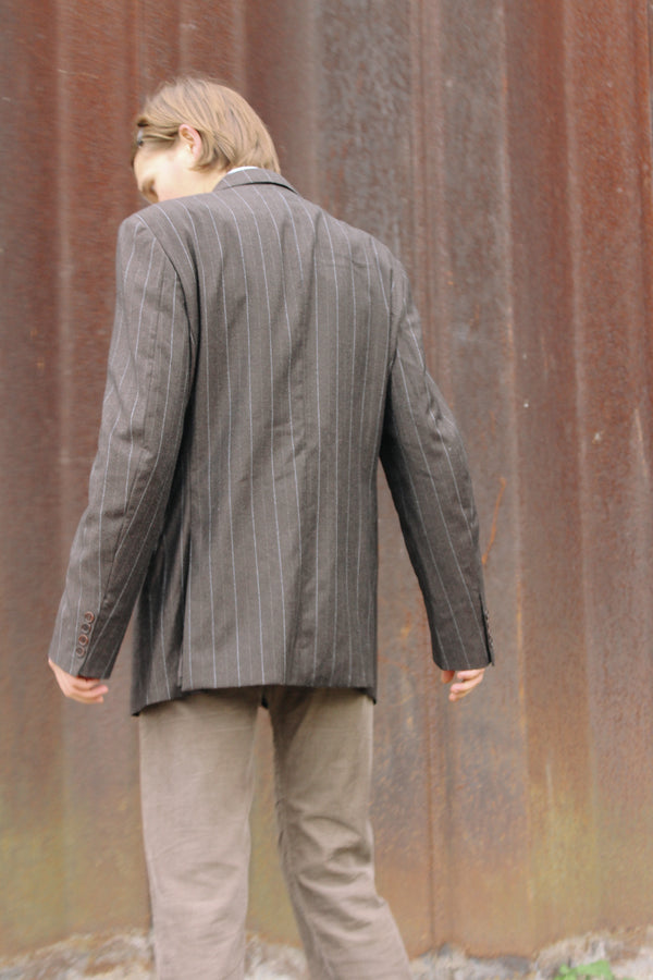 Dark brown pinstripe wool suit jacket