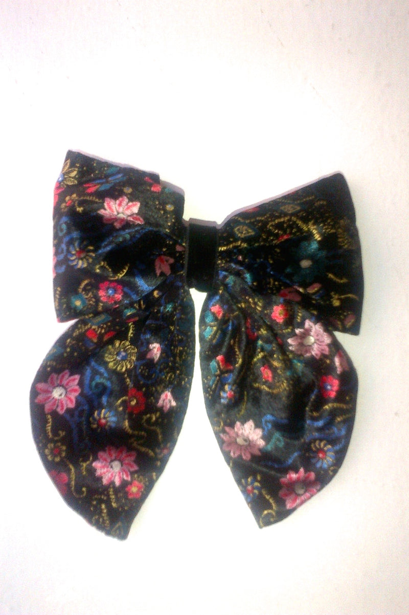 Vintage Velour Hair Bow With Flowers