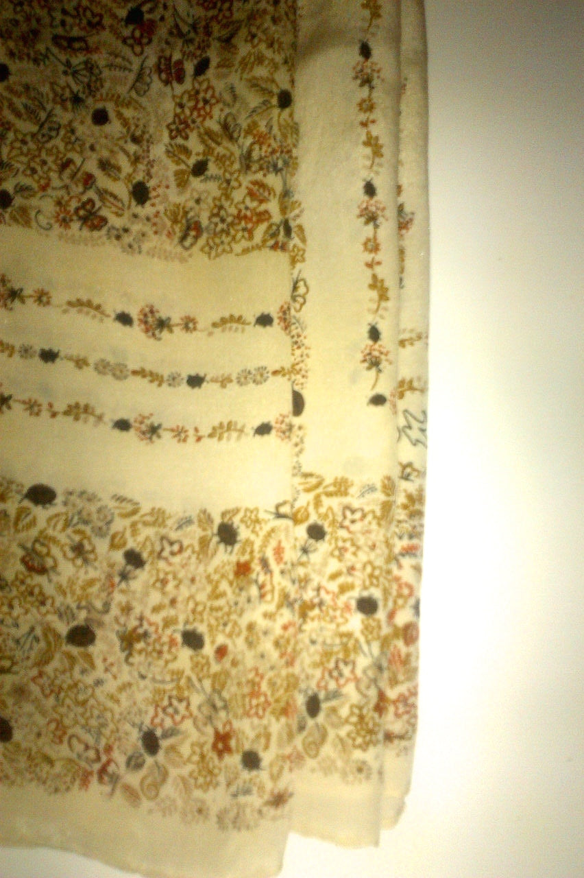 Vintage Beige Silk Small Flowers Scarf