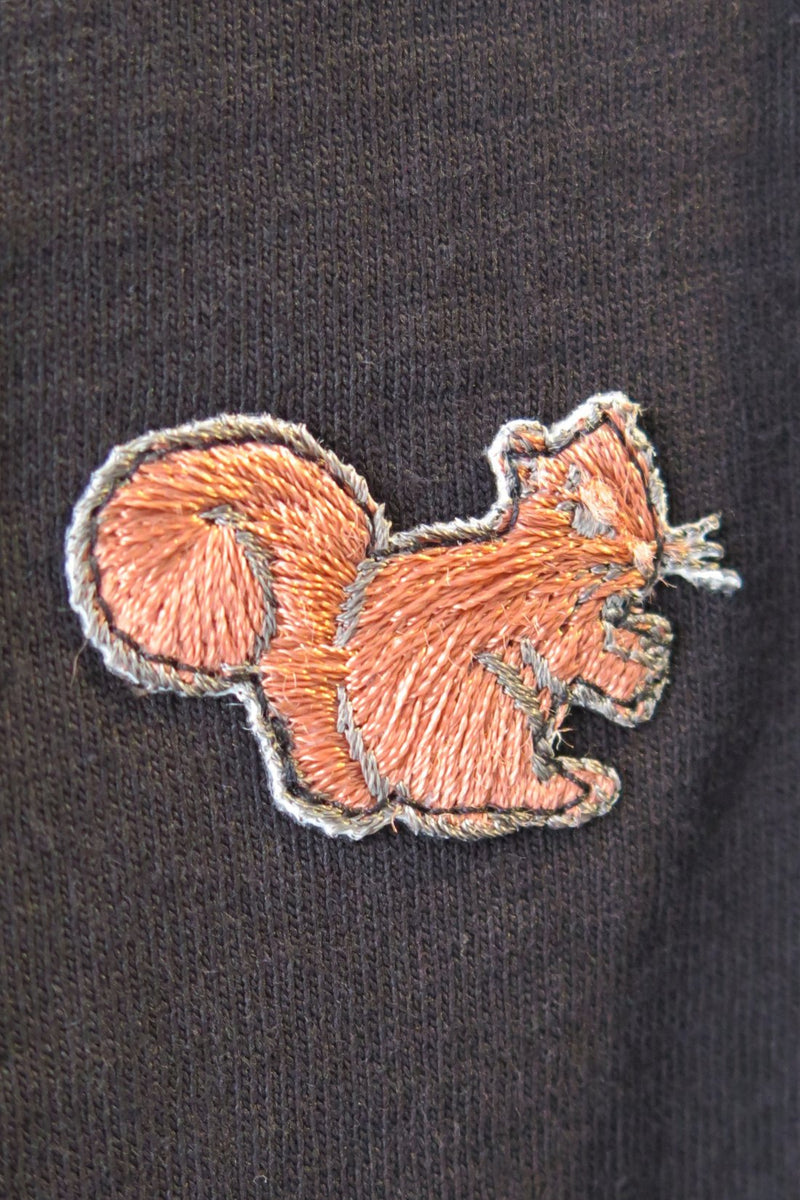 Embroidered Squirrel Patch Navy T-Shirt