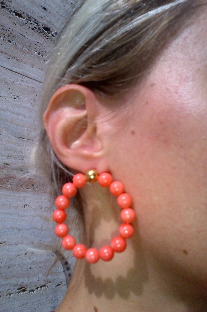 Mirit Weinstock Big Beads Hoops, CORAL/GOLD