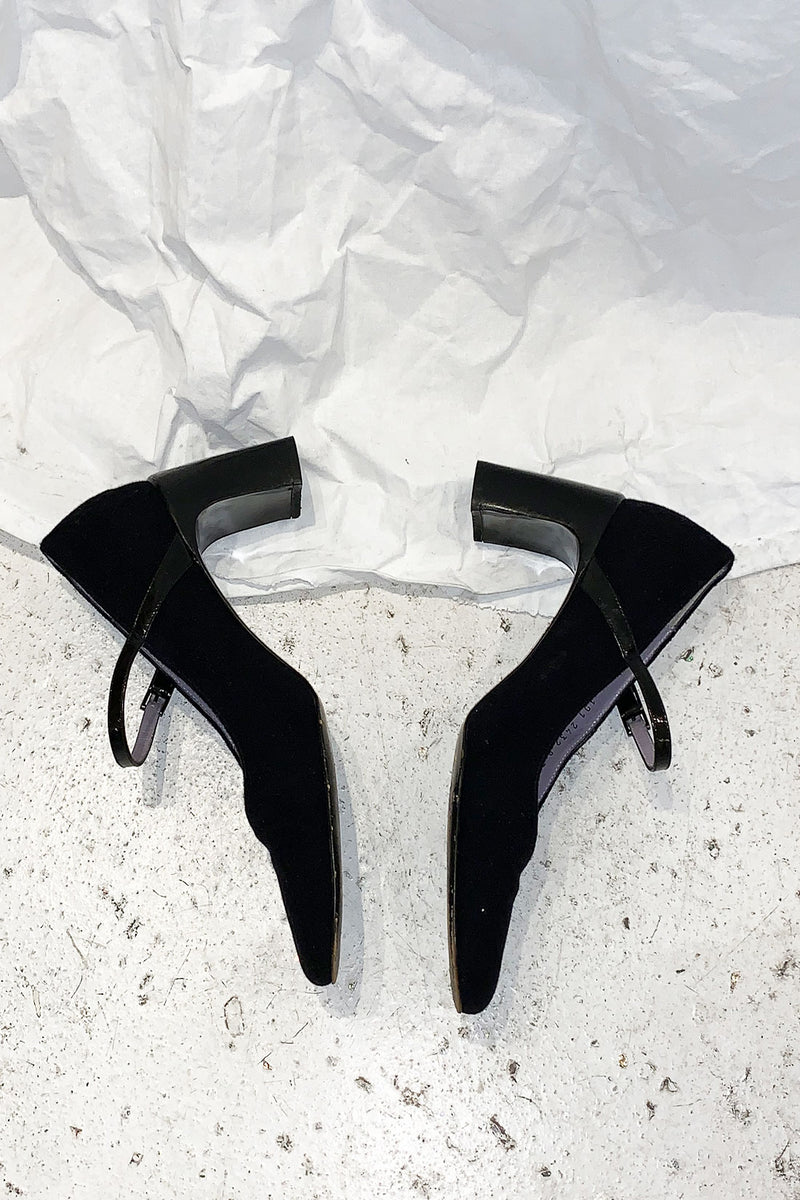 Gucci Black Wool Leather Mary Jane Pumps