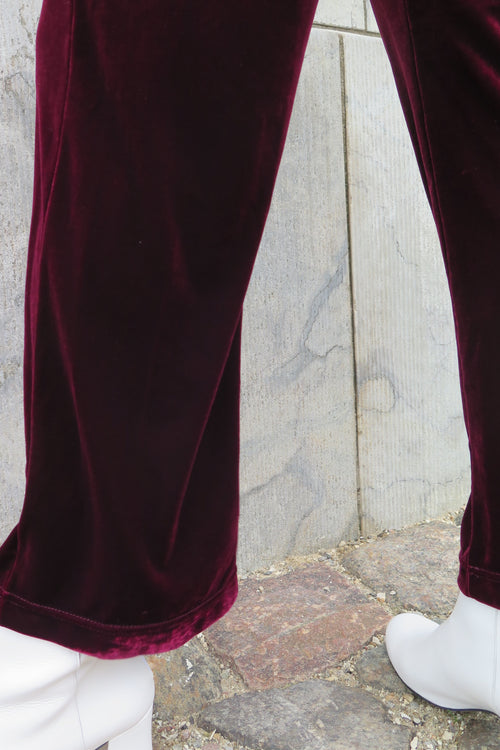 Vintage Bordeaux Velvet Pants - Studio Travel