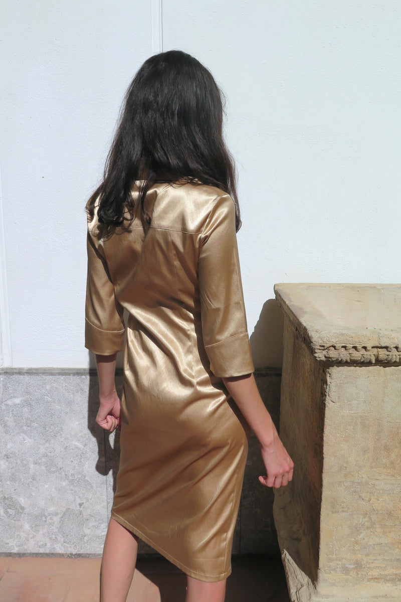 Vintage Shiny Caramel Button Down Dress - Studio Travel