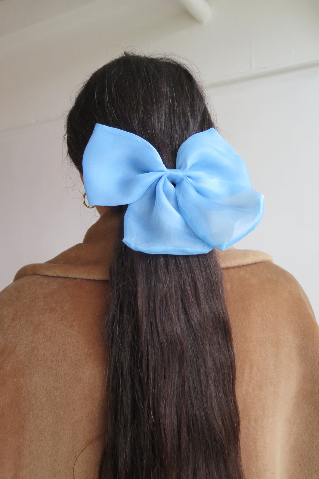 Light Blue Silk Taffeta Hair Bow - Studio Travel